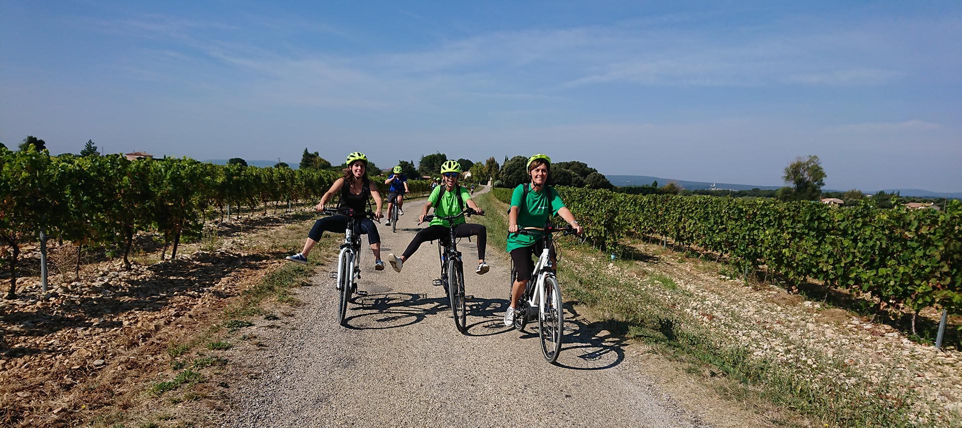 Balade à vélo électrique à travers les vignes